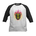 skull Dull Flames Kids Baseball Jersey