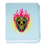 skull Dull Flames baby blanket