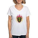 skull Dull Flames Women's V-Neck T-Shirt