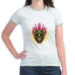 skull Dull Flames Jr. Ringer T-Shirt