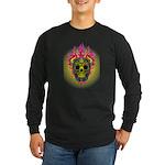 skull Dull Flames Long Sleeve Dark T-Shirt