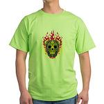 skull Dull Flames Green T-Shirt