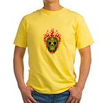 skull Dull Flames Yellow T-Shirt