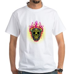 skull Dull Flames White T-Shirt