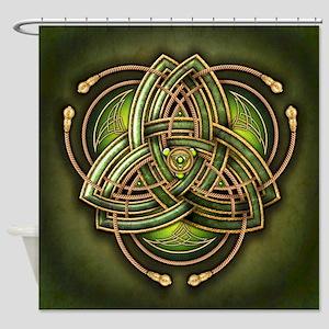 Green Celtic Triquetra Shower Curtain