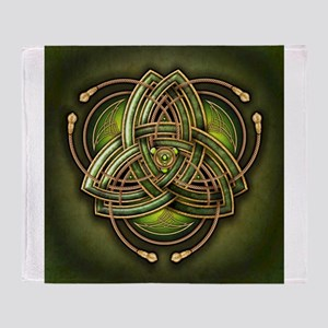 Green Celtic Triquetra Throw Blanket