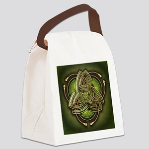 Green Celtic Triquetra Canvas Lunch Bag