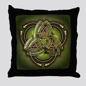 Green Celtic Triquetra Throw Pillow