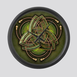 Green Celtic Triquetra Large Wall Clock