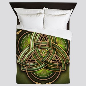 Green Celtic Triquetra Queen Duvet