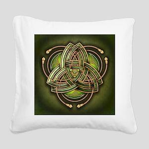 Green Celtic Triquetra Square Canvas Pillow