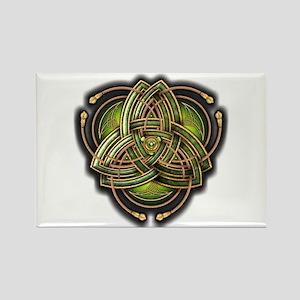 Green Celtic Triquetra Rectangle Magnet