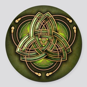 Green Celtic Triquetra Round Car Magnet