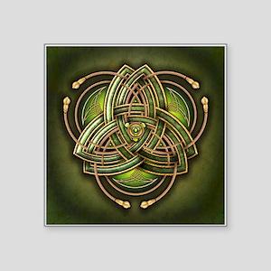 """Green Celtic Triquetra Square Sticker 3"""" x 3"""""""