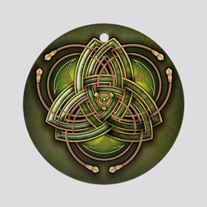 Green Celtic Triquetra Ornament (Round)