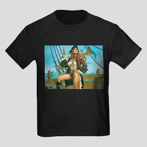 pin-up pirate Kids Dark T-Shirt