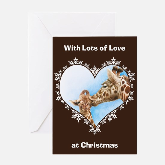 Giraffe and Calf Snowflake Heart Greeting Card