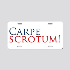 CarpeScrotumBumperSticker Aluminum License Plate