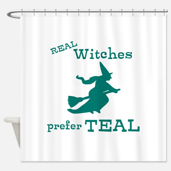 Teal Witch Shower Curtain