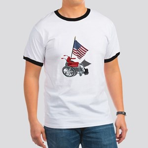 American Flag and Wheelchair Ringer T