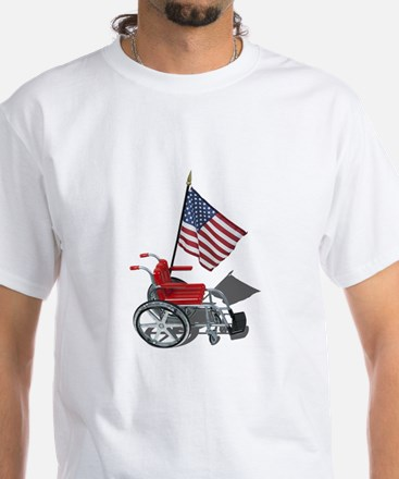 American Flag and Wheelchair White T-Shirt