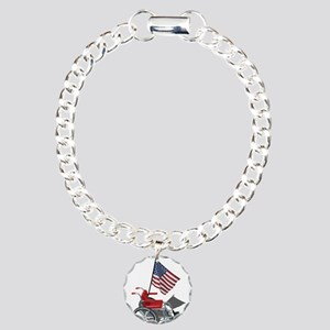 American Flag and Wheelchair Charm Bracelet, One C