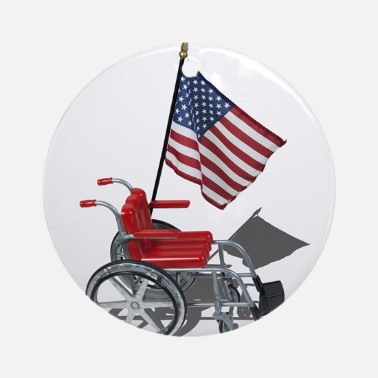 American Flag and Wheelchair Ornament (Round)