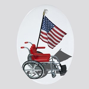 American Flag and Wheelchair Ornament (Oval)