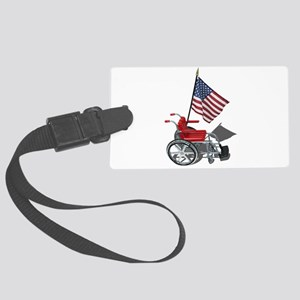 American Flag and Wheelchair Large Luggage Tag