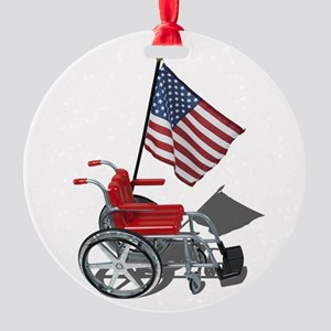 American Flag and Wheelchair Round Ornament