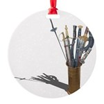 Swords in Stand Round Ornament