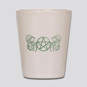 Pretty green pentacle Shot Glass