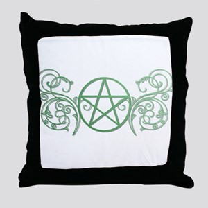 Pretty green pentacle Throw Pillow