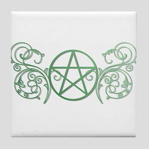 Pretty green pentacle Tile Coaster