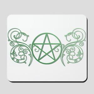 Pretty green pentacle Mousepad