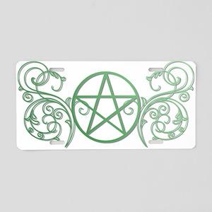 Pretty green pentacle Aluminum License Plate