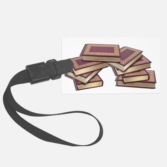 Stacked Books Gold leaf Luggage Tag