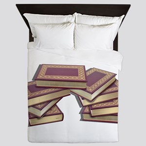 Stacked Books Gold leaf Queen Duvet
