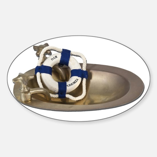 Life Preserver Brass Sink Sticker (Oval)
