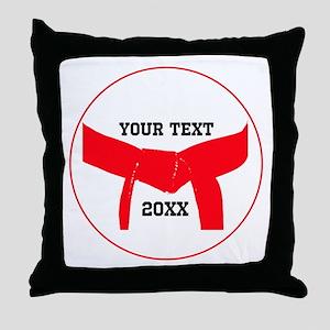 Custom Martial Arts Red Belt Throw Pillow