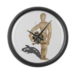Holding Diving Helm Large Wall Clock