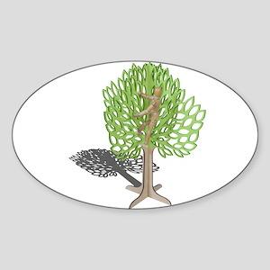 Climbing a Tree Sticker (Oval)