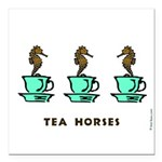 "Tea Horses! Square Car Magnet 3"" x 3"""