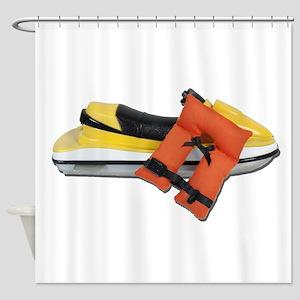Life Vest Jet Ski Shower Curtain