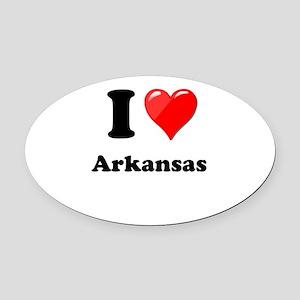 I Heart Love Arkansas Oval Car Magnet