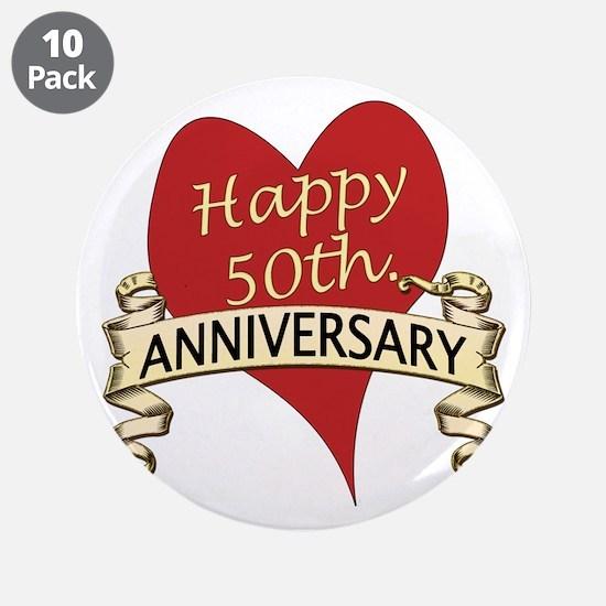 "Cute 50th wedding anniversary 3.5"" Button (10 pack)"