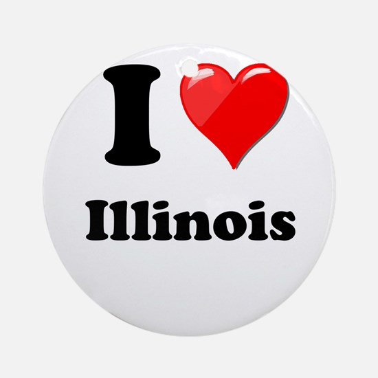 I Heart Love Illinois.png Ornament (Round)