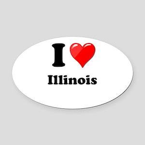 I Heart Love Illinois Oval Car Magnet