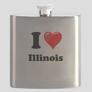 I Heart Love Illinois Flask