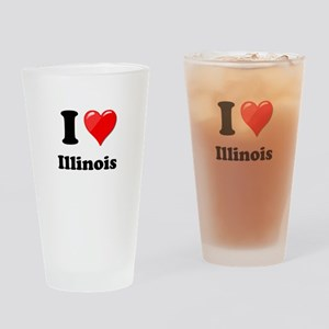 I Heart Love Illinois Drinking Glass